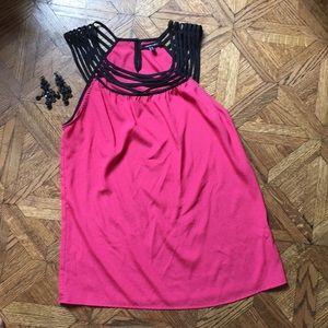 Pink blouse with black neckline